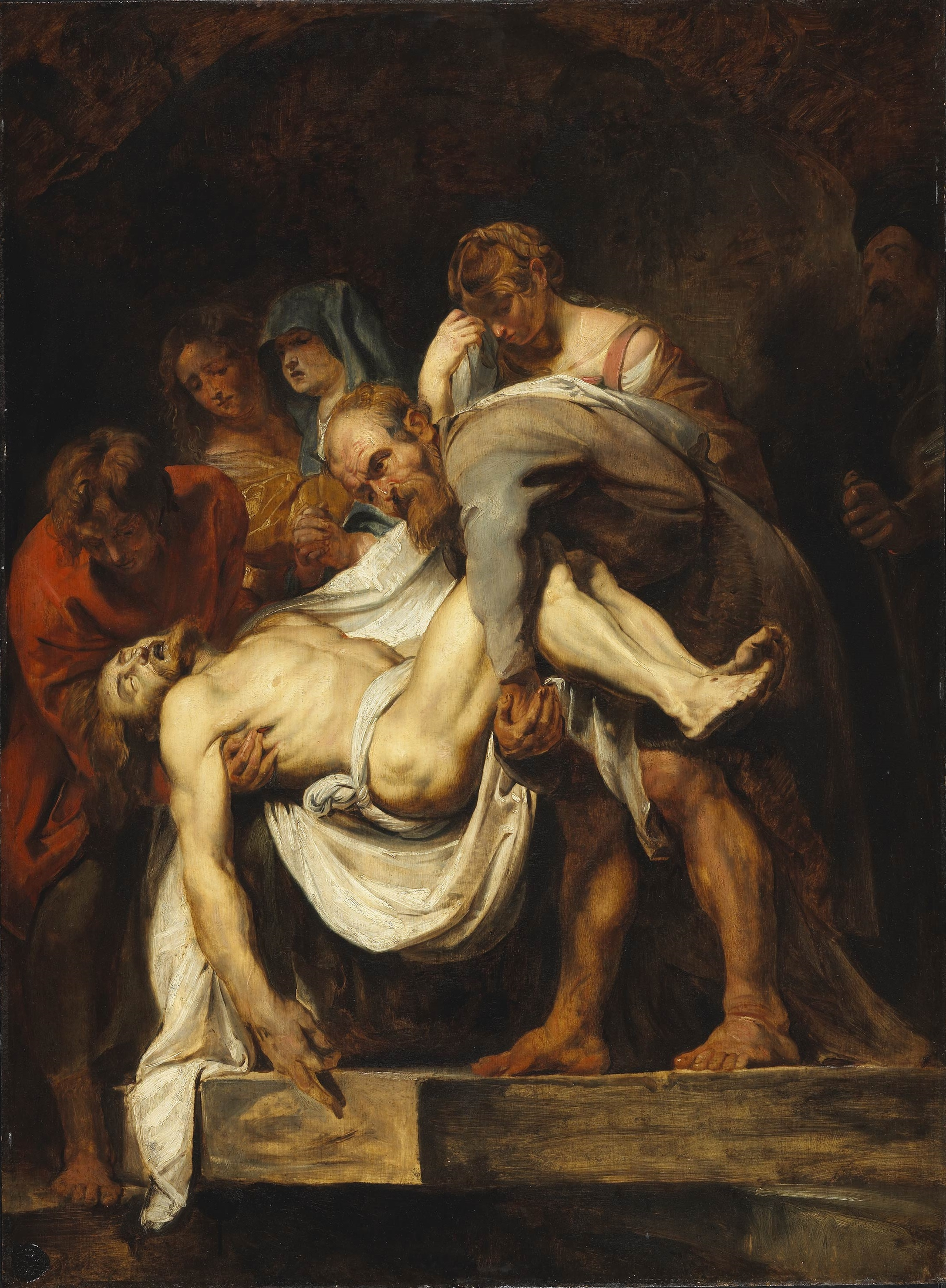Peter Paul Rubens (paraphrasing Caravaggio). The Entombment. circa 1611-1615.  oil on panel