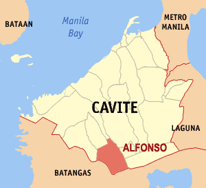 Map of Cavite showing the location of Alfonso