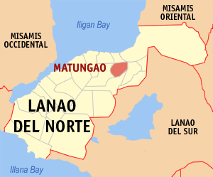 Map of Lanao del Norte showing the location of Matungao