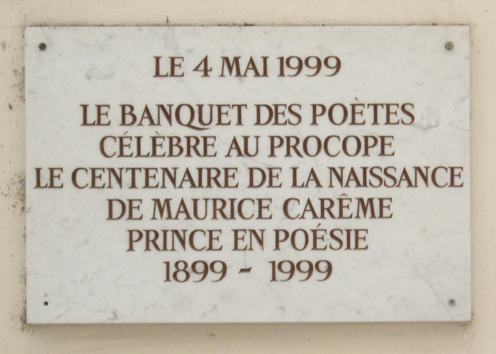 Fichierplaque Maurice Carême Café Procope Cour Du