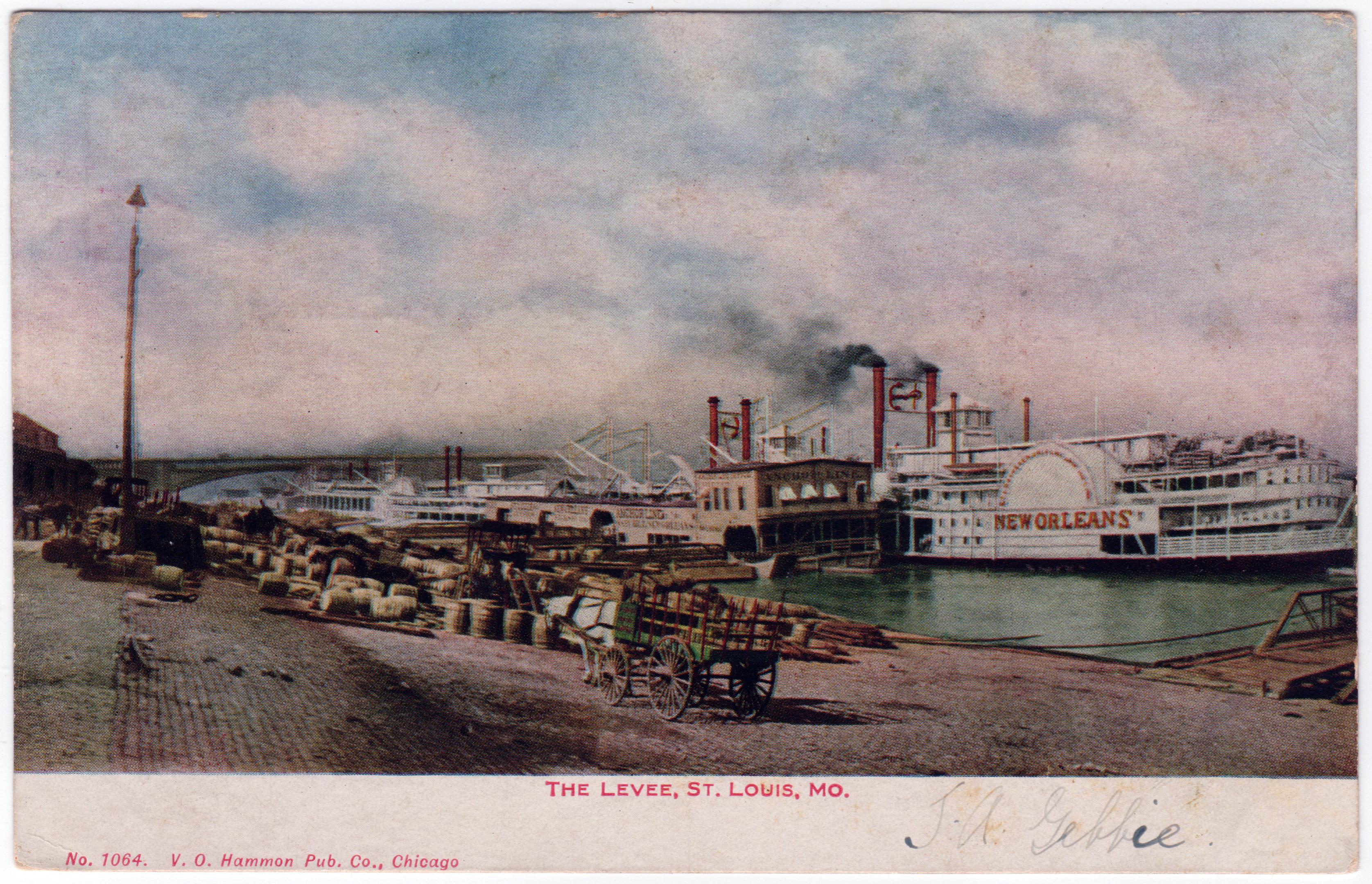 ST. LOUIS , Missouri , 30-40s; Levee Scene, Eads Bridge