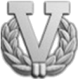 "Silver ""V"" with wreath device for fifth award"