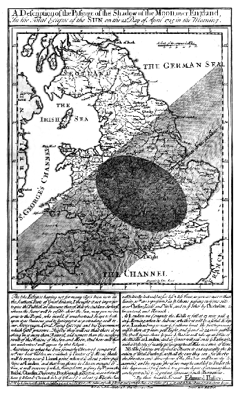 Edmond Halley's solar eclipse 1715 map showing The German Sea Solar eclipse 1715May03 Halley map.png