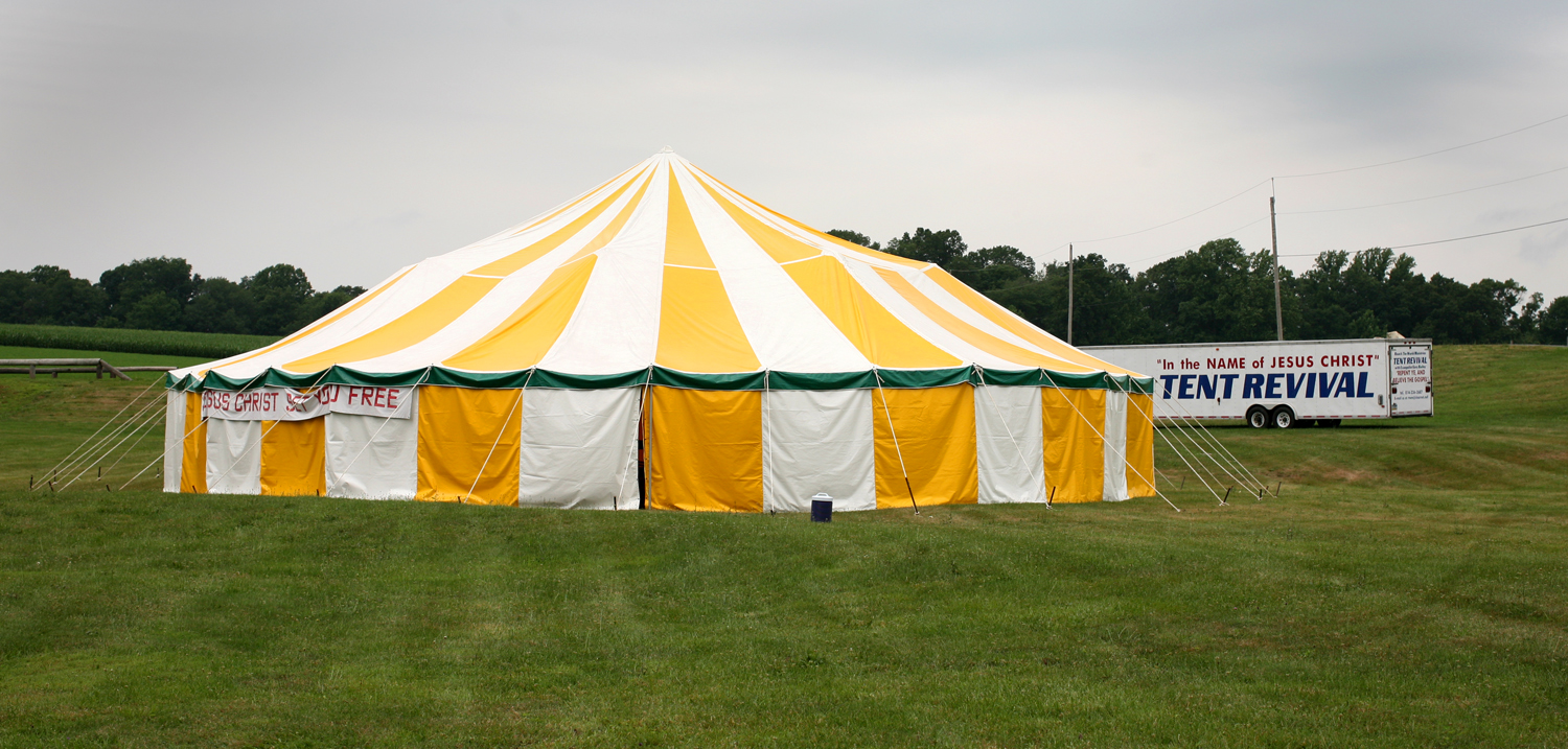 A marquee tent set up for a tent revival in rural Pennsylvania 2008 & Tent revival - Wikipedia