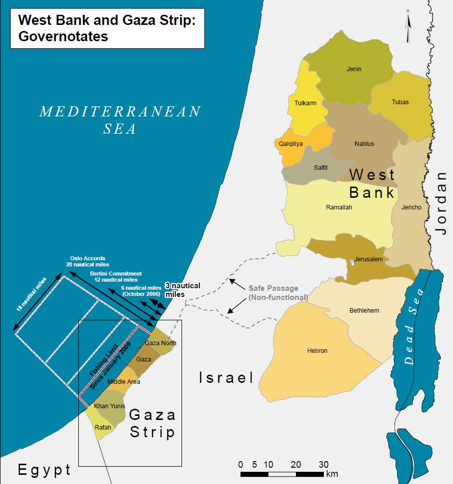 Gaza strip and the west bank
