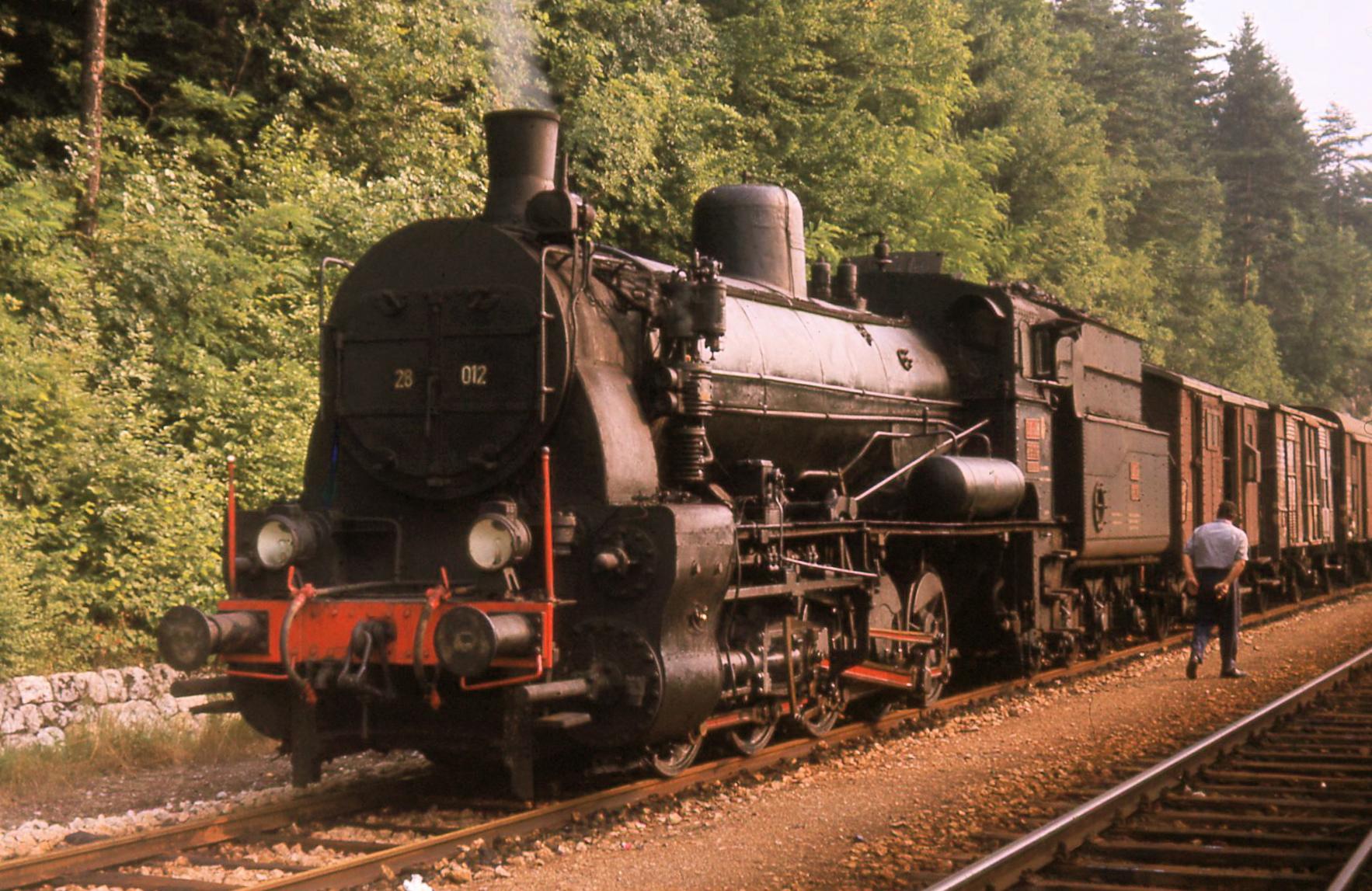 A Gölsdorf 0-10-0 at work in Slovenia, Bled Jezero station, 1971