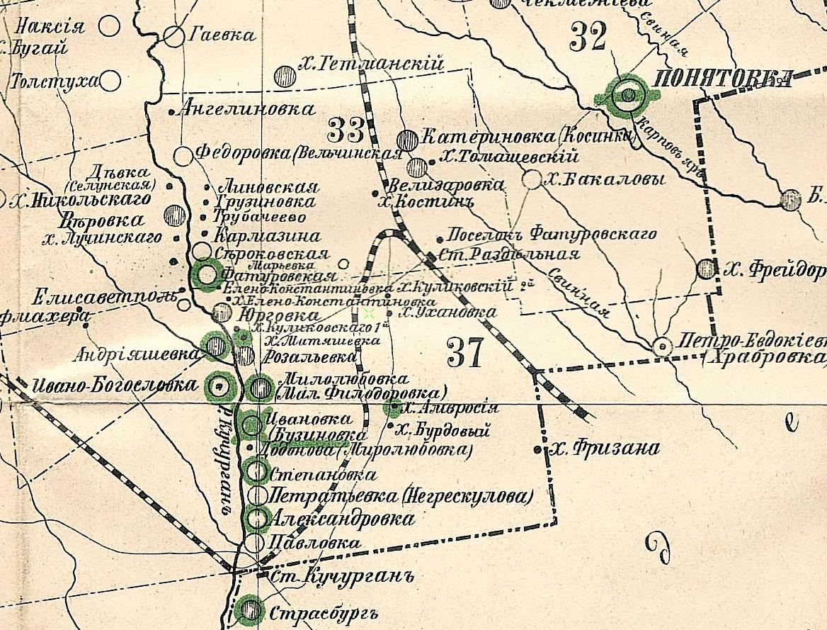 Станция Раздельная на карте Тираспольского уезда (1886)