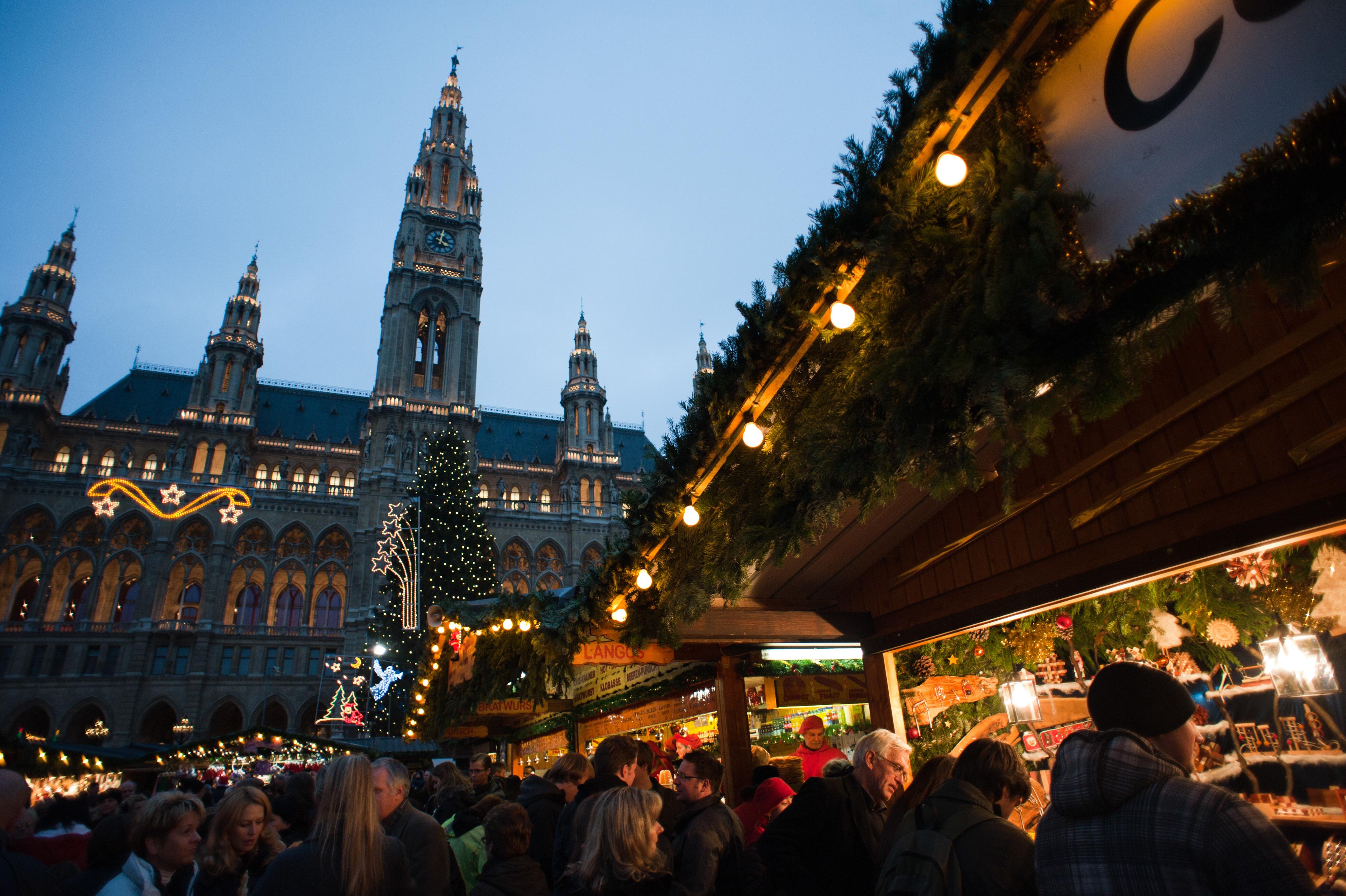 Beautiful Christmas Market In Europe #1: A_Christmas_festival_near_the_Rathaus,_Friedrich_Schmidt_Platz.Vienna,_Austria,_Western_Europe.jpg