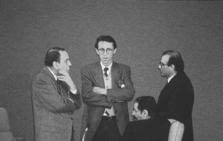 De La Calle con Álvaro Gómez Hurtado, Antonio Navarro Wolff y Horacio Serpa en la Asamblea Nacional Constituyente (1991).