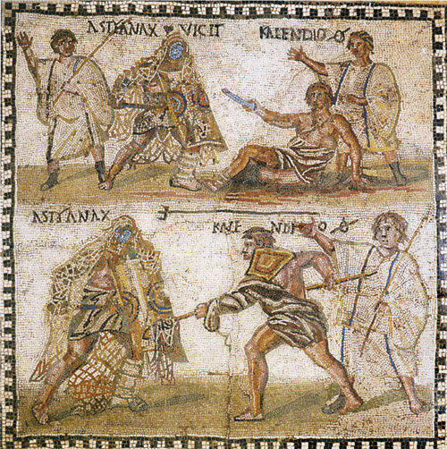 "A retiarius (""net fighter"") with a trident and cast net, fighting a secutor (79 AD mosaic) - List of Roman gladiator types"