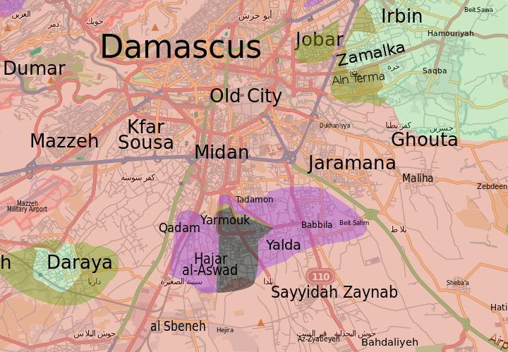 Battle of Yarmouk Camp (2015) - Wikipedia on libya map, umayyad mosque, medina map, sanaa map, amman map, constantinople map, asma al-assad, belgrade map, bashar al-assad, jordan map, aleppo map, ankara map, sinai peninsula map, syria map, euphrates river map, canaan map, muscat map, tyre map, beirut on a map, mecca map, jerusalem map, iraq map, persia map,