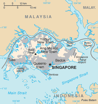 An outline of Singapore and the surrounding islands and waterways