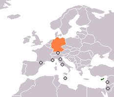 Map indicating locations of Cyprus  and Germany