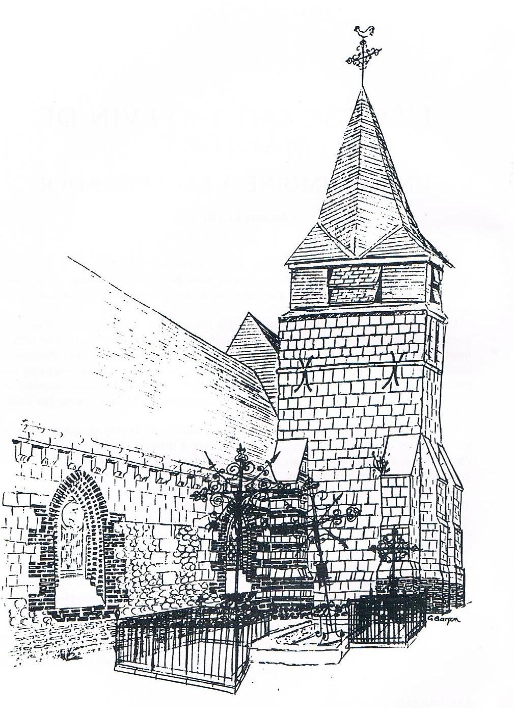 Fichier dessin au crayon de la fa ade sud ouest de l 39 glise saint silvin de wikip dia - Dessin eglise ...