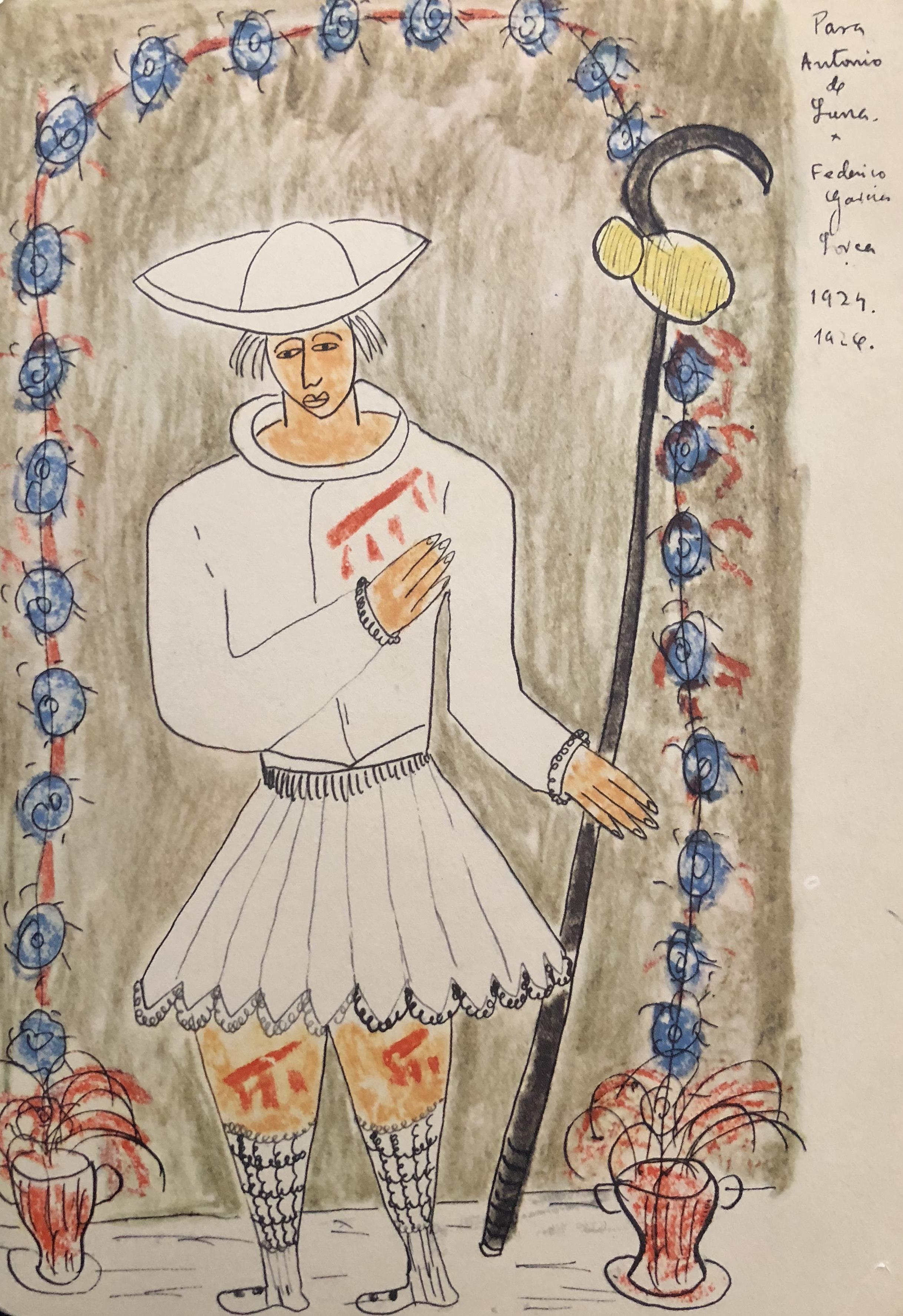 Santo peregrino. Dibujo a tinta y lápices de colores sobre papel. Regalo personal a Antonio de Luna García (Granada, 1926)