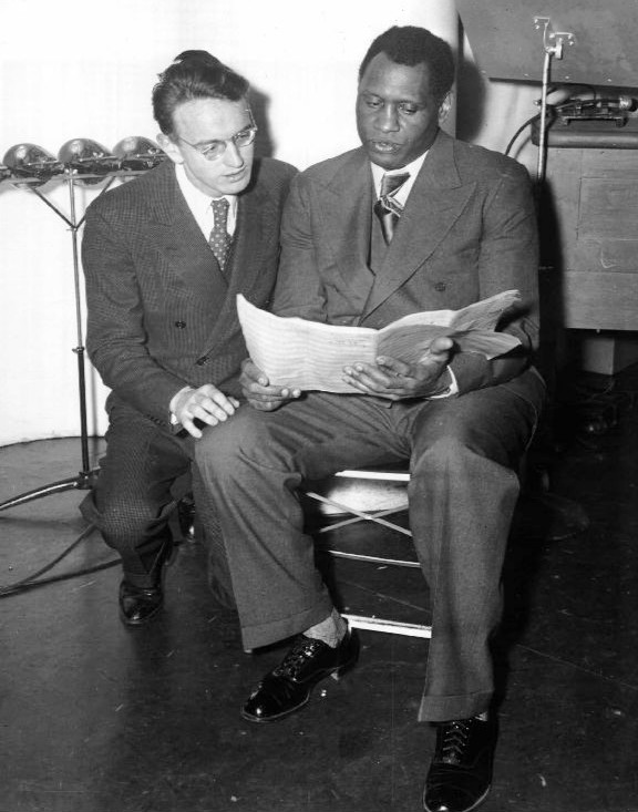 "Robinson (left) and Paul Robeson at rehearsal for the first ""Ballad for Americans"" performance in 1939."