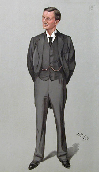 Caricature of Sir Edward Grey MP. Caption read...