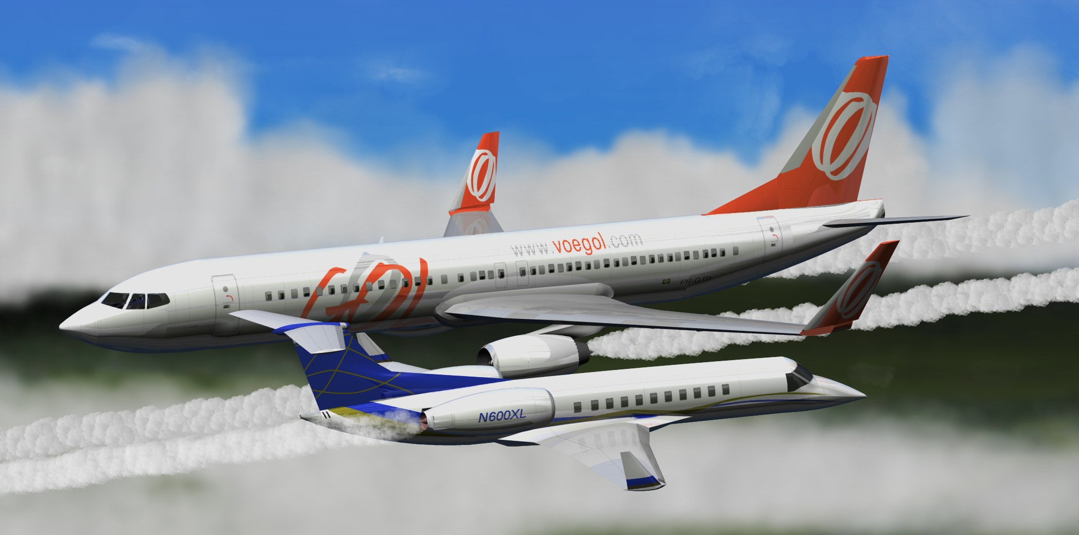 A Computer Generated Rendering Of Two Aircraft Flying In Opposite Directions Slightly Offset From