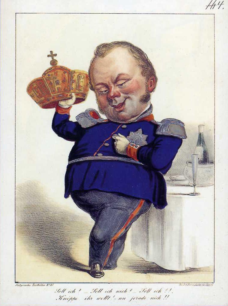 Karikatur zur Ablehnung der Kaiserkrone der Frankfurter Nationalversammlung durch König Friedrich Wilhelm IV.