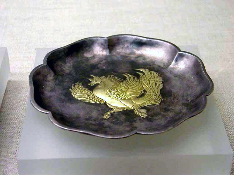 Gilt hexagonal silver plate with a feilian beast pattern.jpg