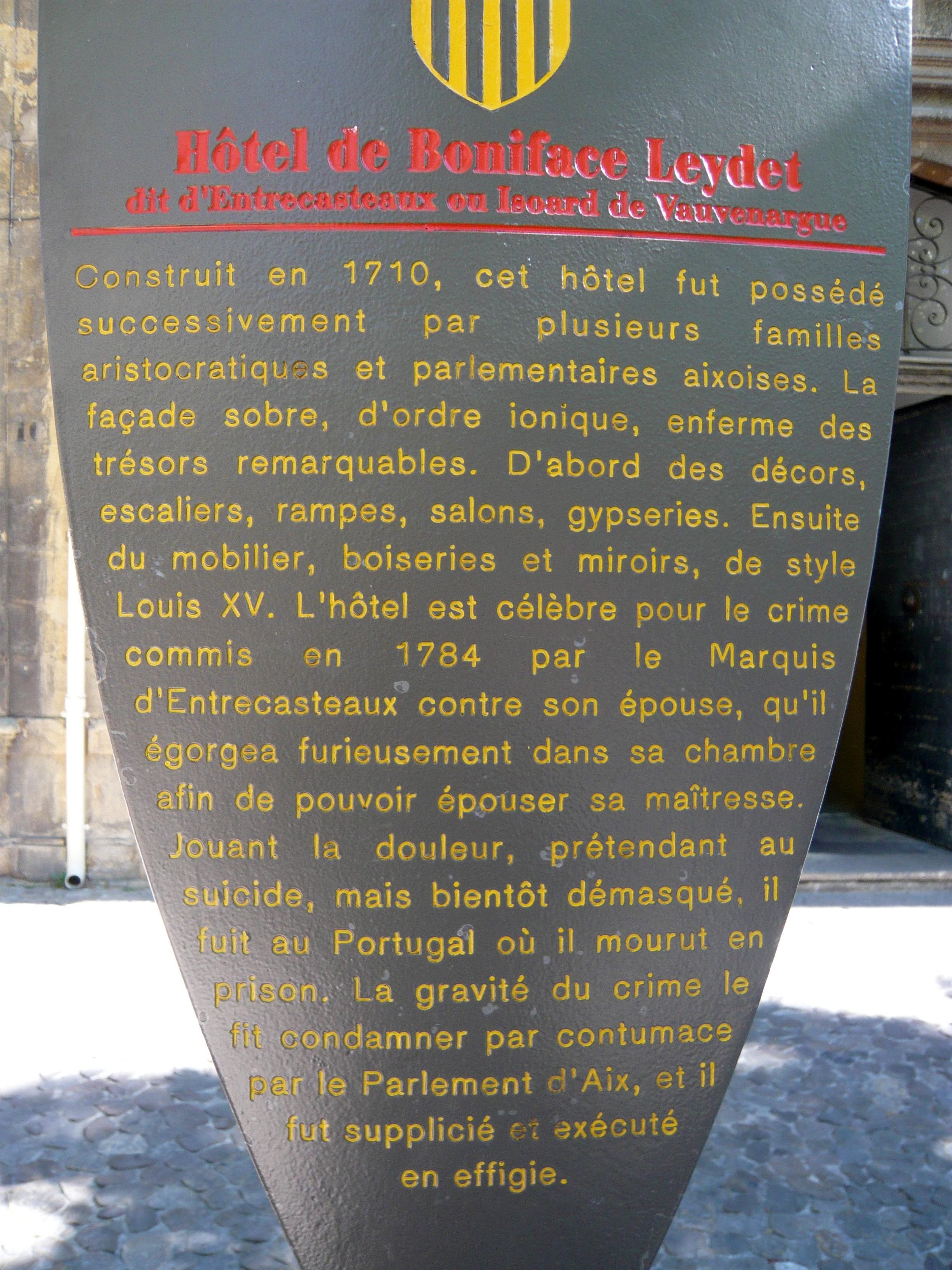 File h tel de boniface leydet dit d 39 entrecasteaux ou for Aix en provence cours de cuisine