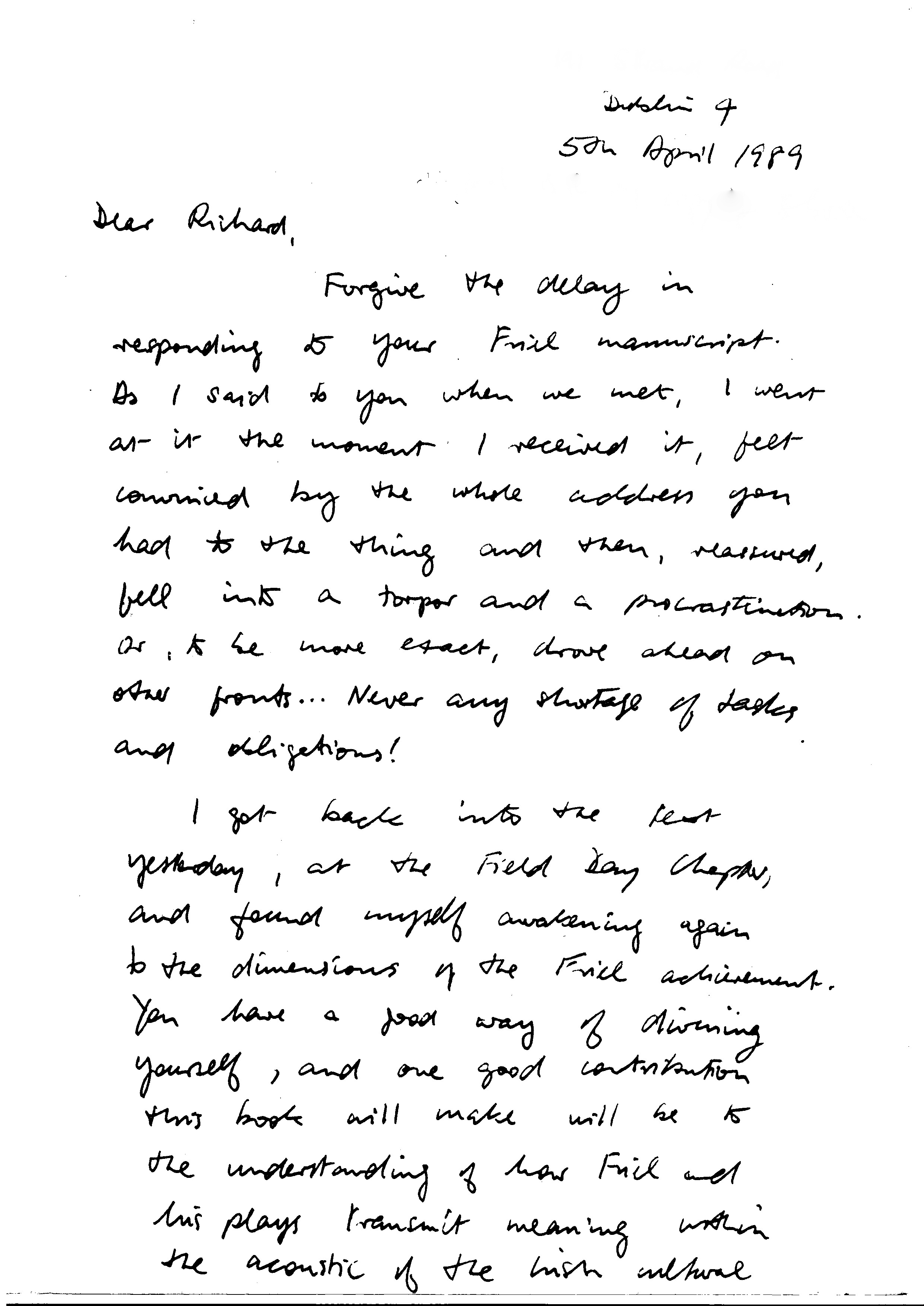 Letter to Richard Pine from Seamus Heaney, dated 5 April 1989 (page 1)