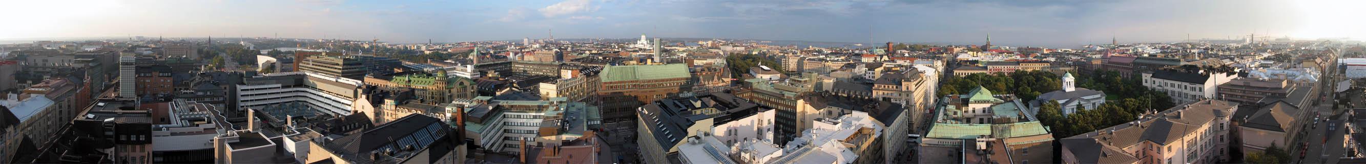 Ett panorama över Helsingsfors, fotograferat från hotell Torni
