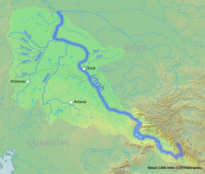 Irtysh River Wikiwand - Ob river on world map