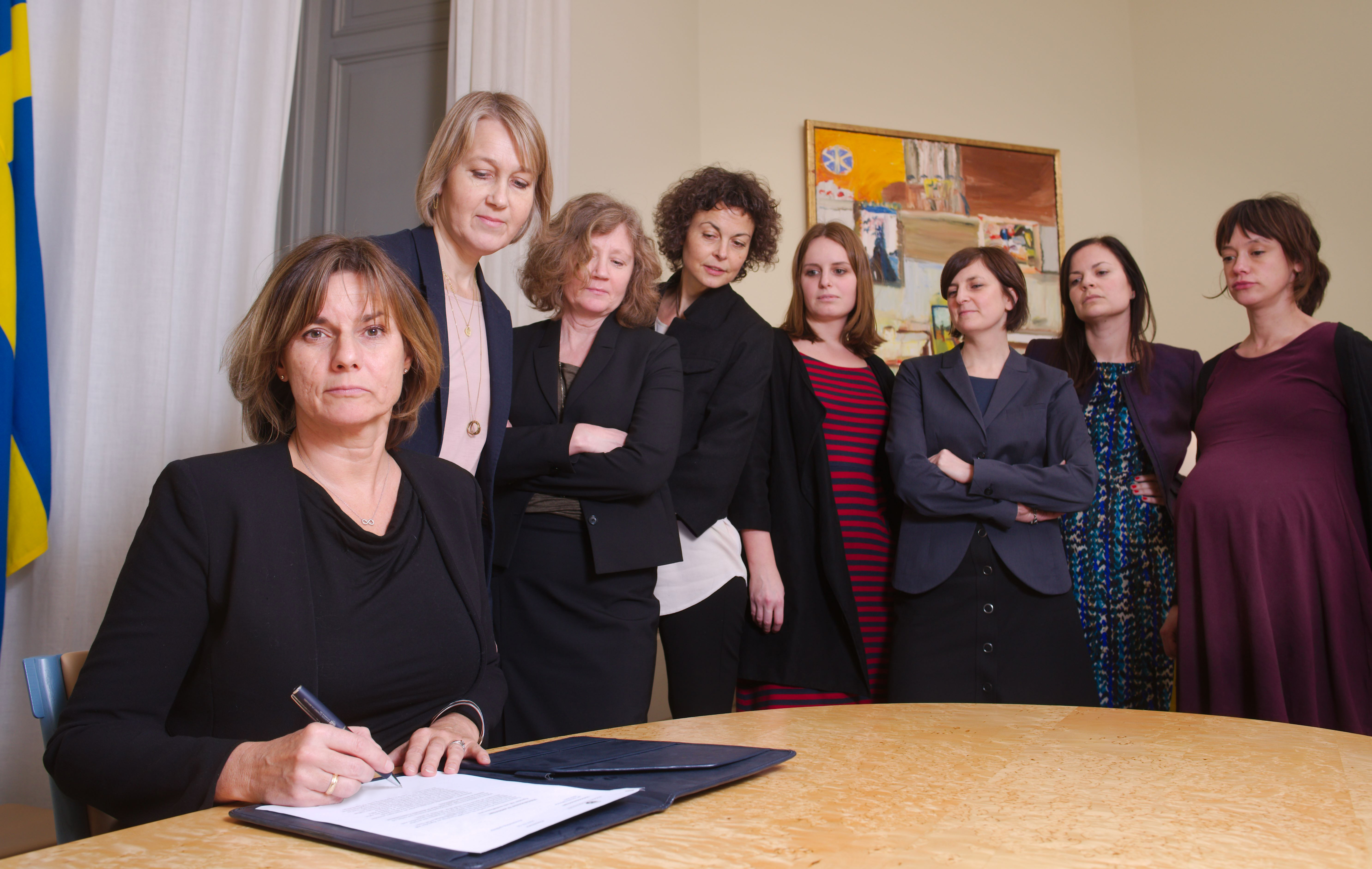 In  The Swedish Climate Law Is Signed By Isabella Lovin With Other Female Cabinet Members