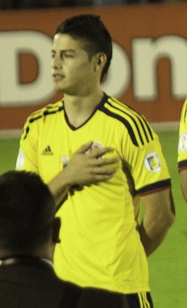 James lining up for Colombia during the 2014 World Cup qualification match against Uruguay, on 10 September 2013 James Rodriguez 1.jpg