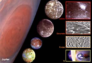 Jupiter's 4 Galilean moons, in a composite image comparing their sizes and the size of Jupiter (Great Red Spot visible). From the top they are: Callisto, Ganymede, Europa and Io.