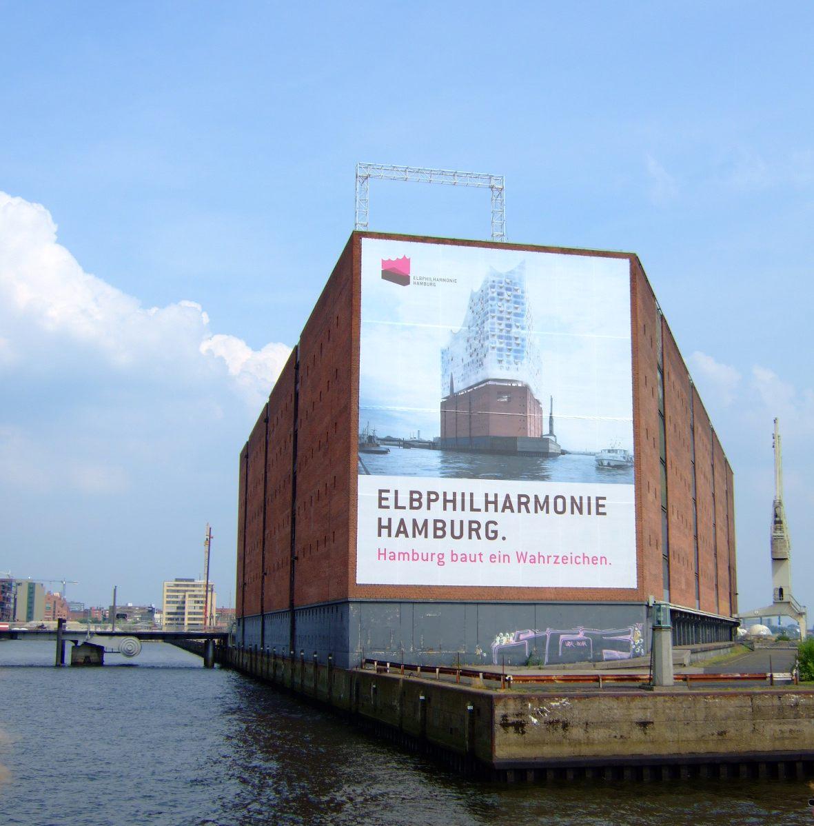 Kaispeicher A mit Plakat Elbphilharmonie im Juli 2006