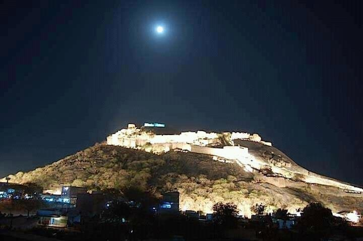 Khammam fort as seen on a fullmoon day