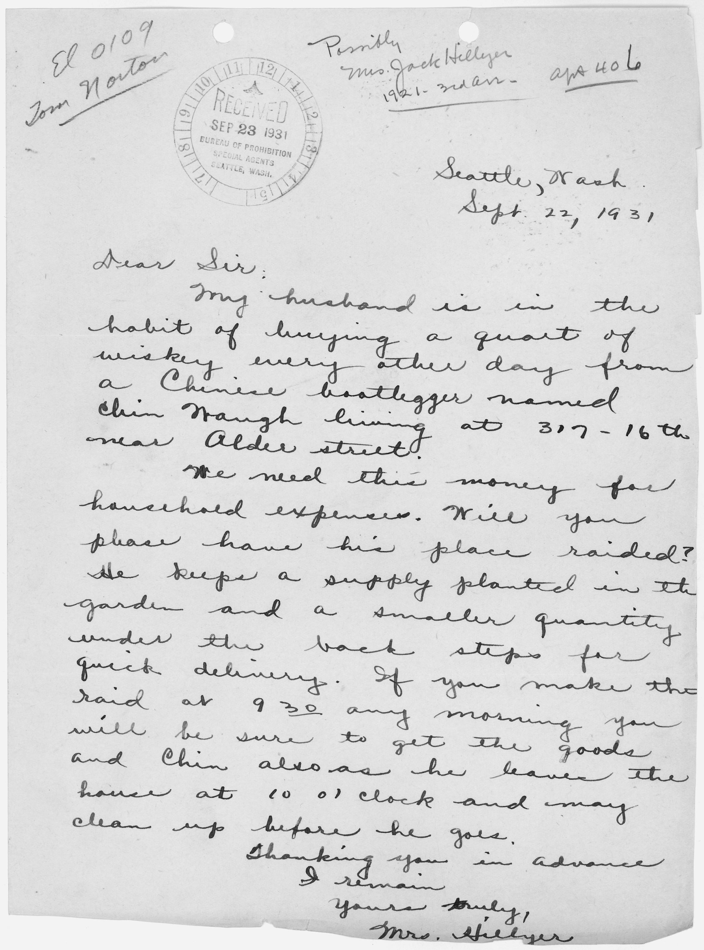File Letter from Mrs Hillyer concerning her husband s drinking