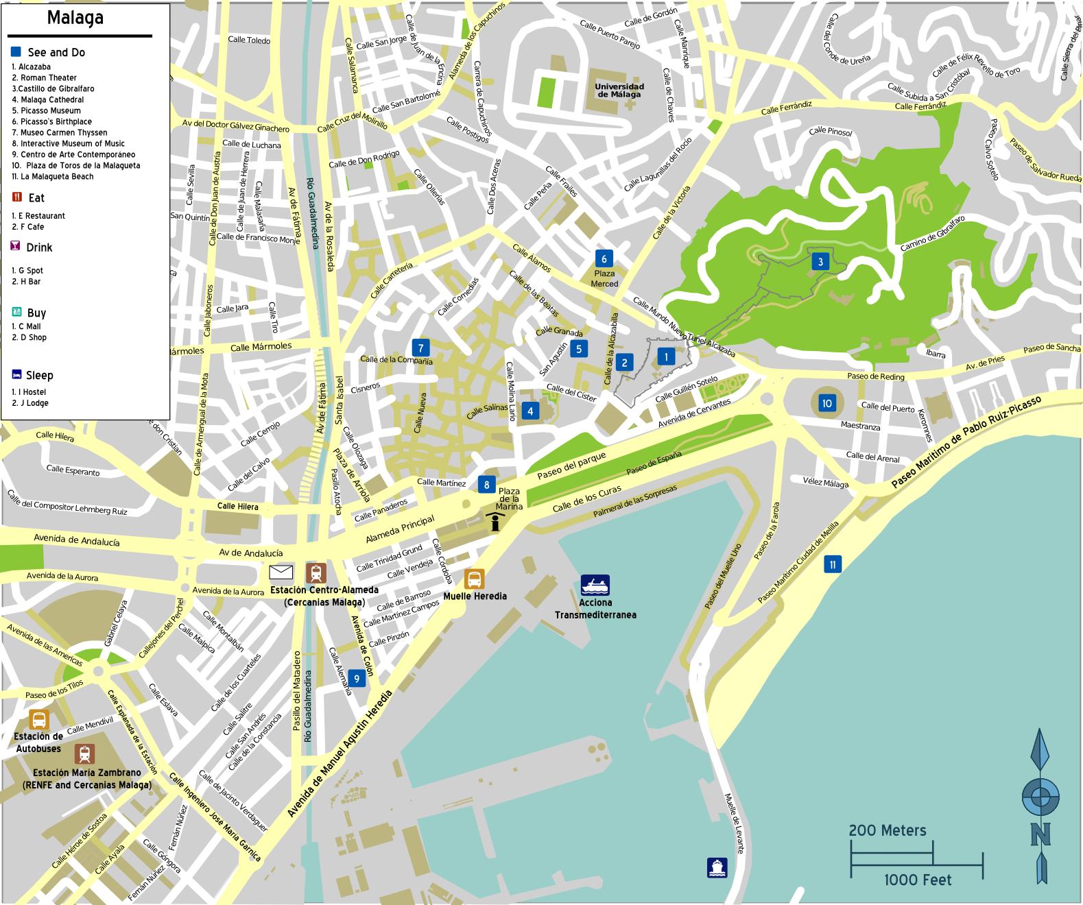 Pdf map Malaga Spain