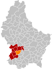 Map showing, in orange, the Mamer commune'