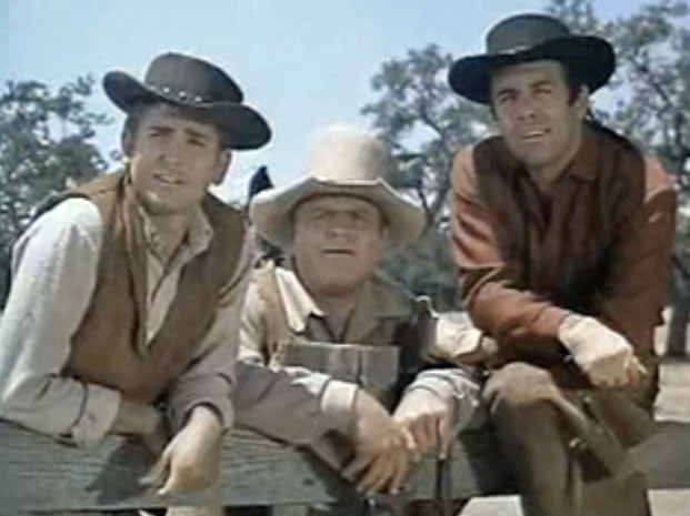 Michael Landon Dan Blocker Pernell Roberts in Bonanza episode Showdown