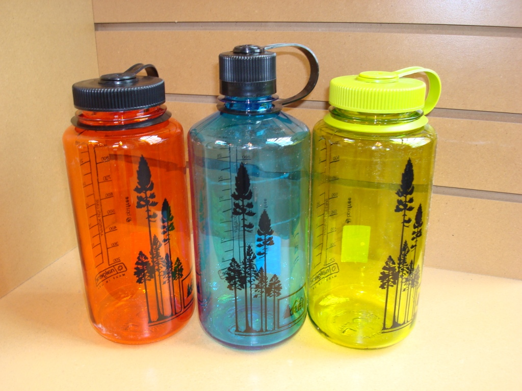 Orange, blue, and yellow water bottles