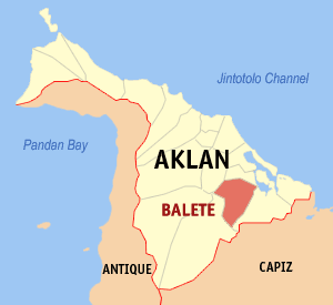 Map of Aklan showing the location of Balete