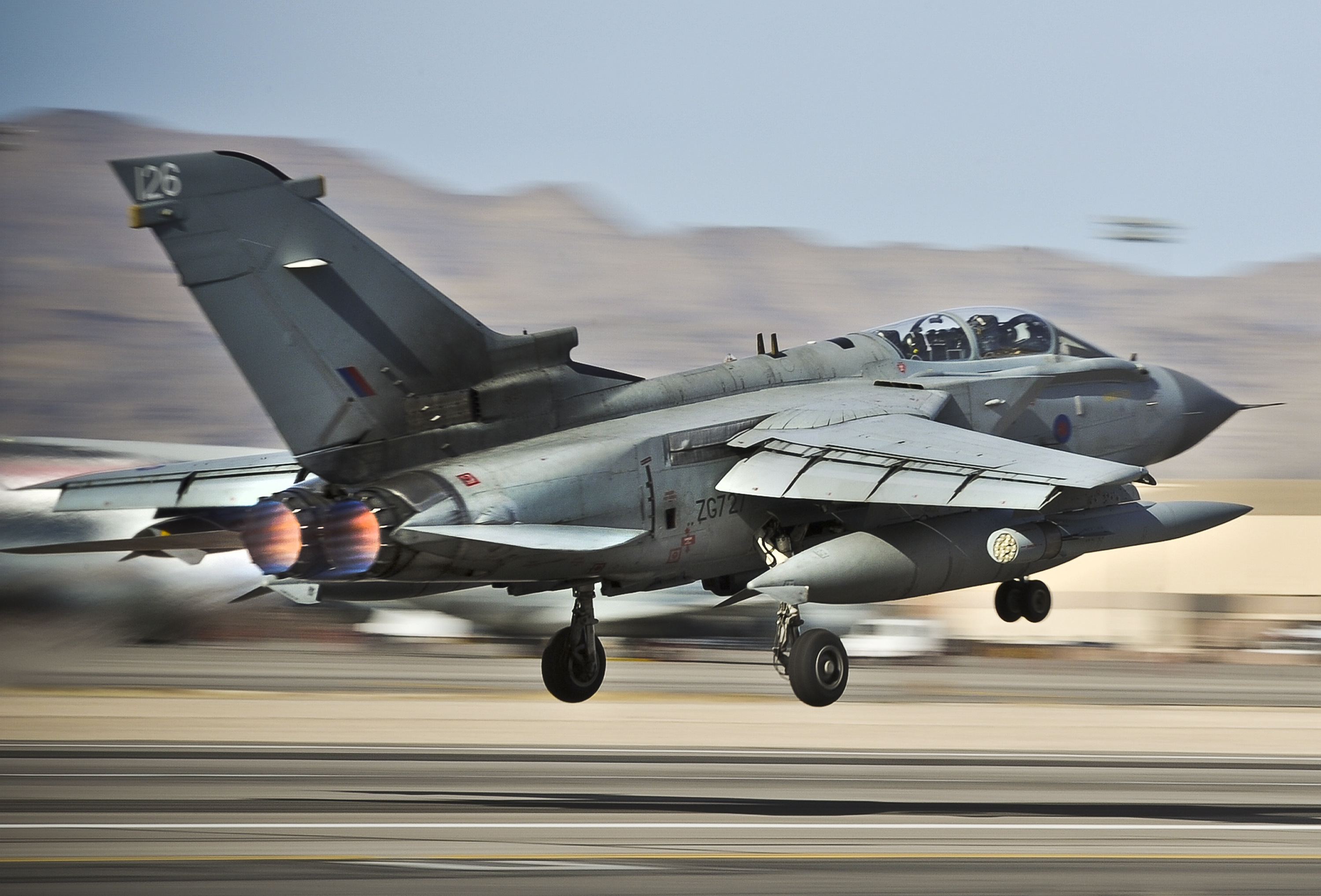File:RAF Typhoon Jet Taking Off During Ex Red Flag in the ...