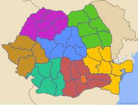 Map of the 8 development regions. The 41 local administrative units are also highlighted.