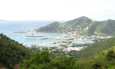 Road Town's harbour from Ridge Road