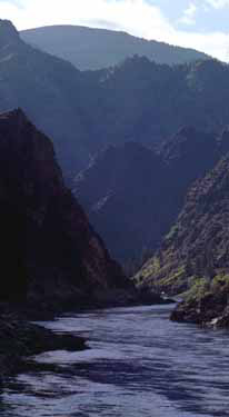 A photo of the Salmon River Mountains along the Salmon River