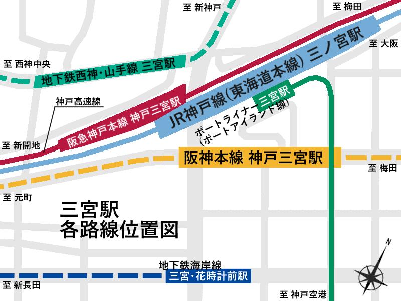 Sannomiya station platform position