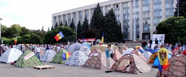 Zeltstadt des moldauischen Maidan