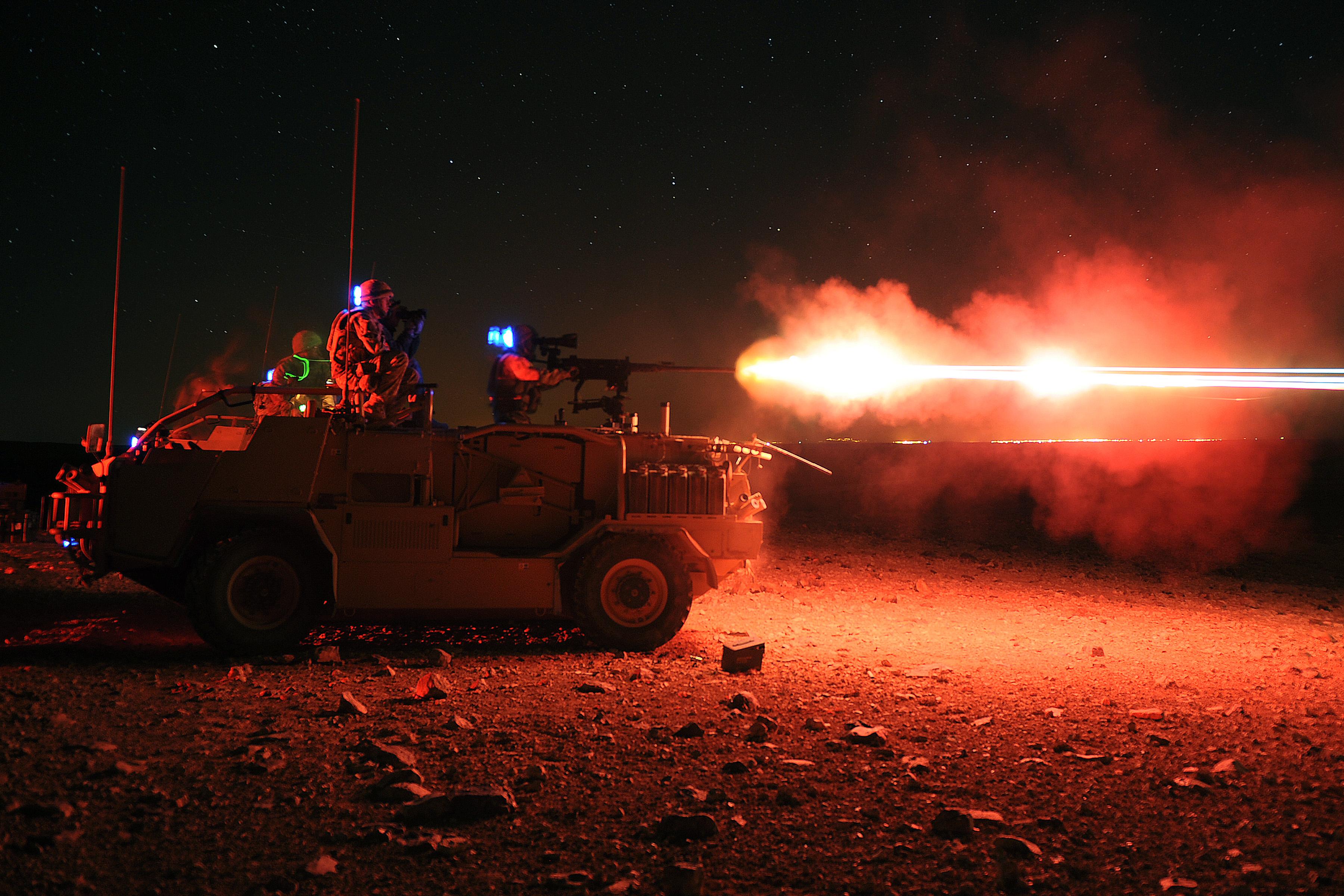 File:Soldiers Night Firing .50 Cal Weapon in Jordan MOD ...