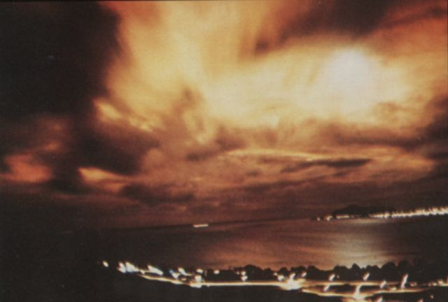 The aurora from a U.S. nuclear test in space, dubbed Starfish Prime, could be seen as far away as Hawaii. (Photo from Wikimedia Commons)