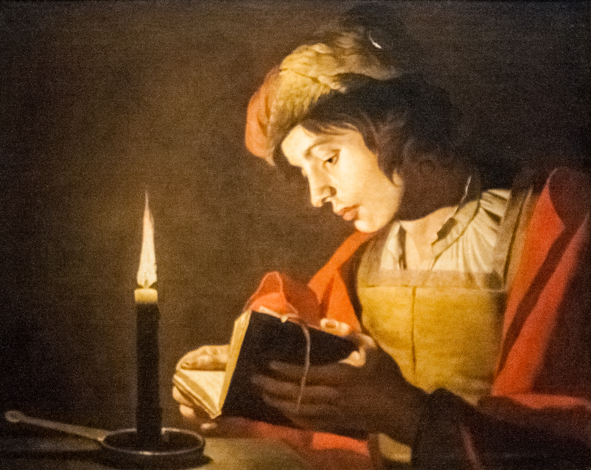 File Stom A Young Man Reading At Candlelight Jpg