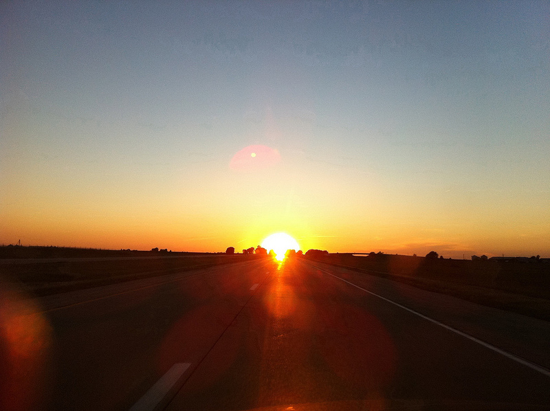 Sunset While Driving on North Interstate 39 in Illinois