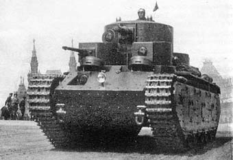 T-35B (recognizable by the new frontal glacis) in 1939 or 1940 in the Red Square, Moscow